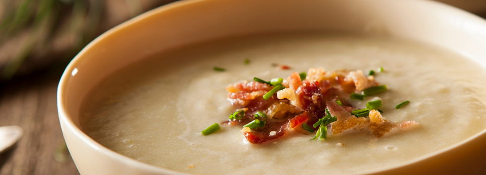 Baked Potato Soup with Coconut Flakes an