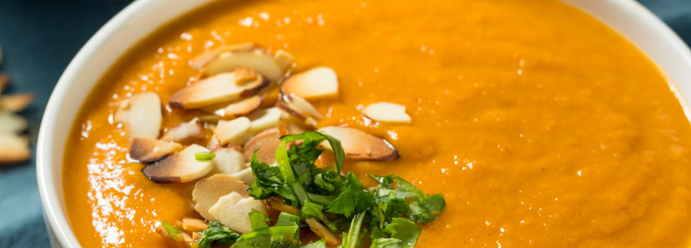 Thai Sweet Potato Carrot Soup with Cashe