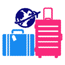 Luggages, world and plane icons