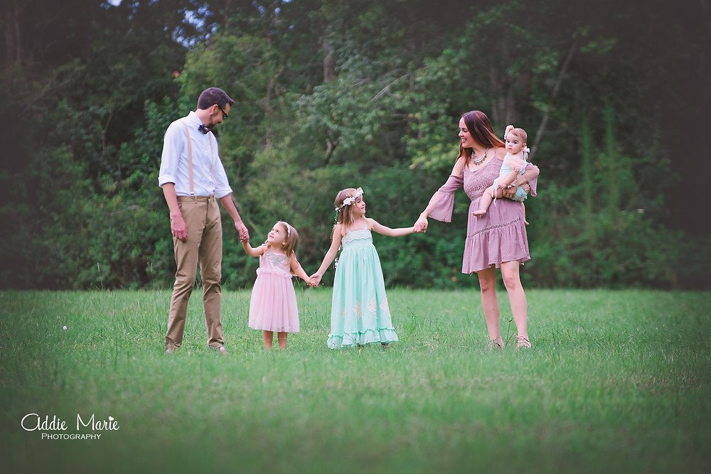 Orlando Photographer Romantic, Vintage Family Photo Shoot - Floral Tent - Field- Addie Marie Photography
