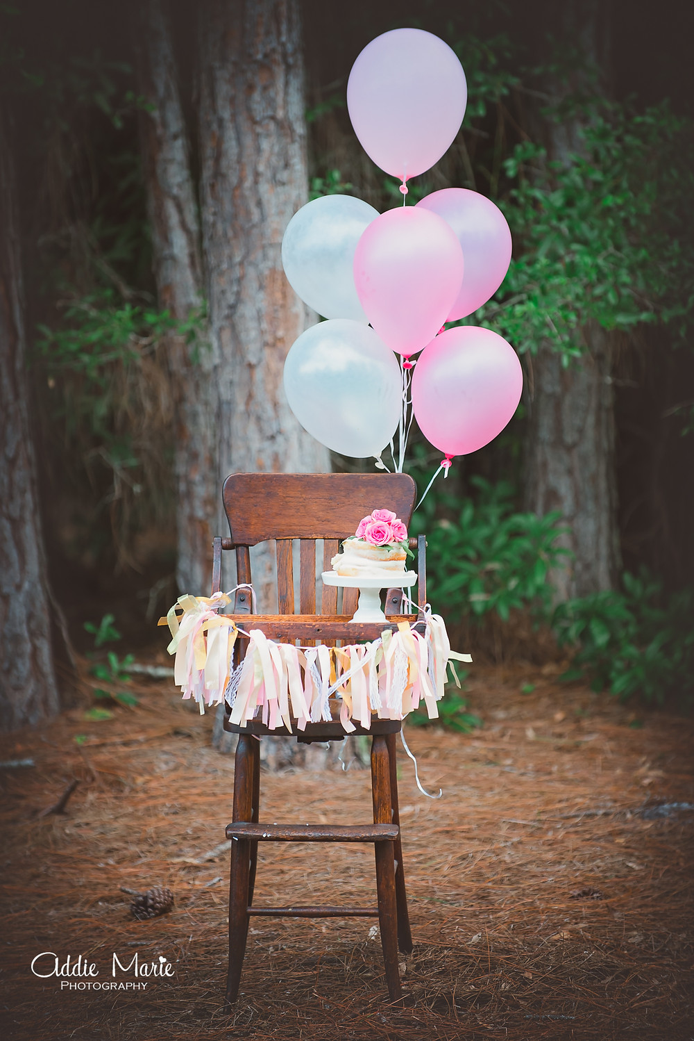 Outdoor Smash Cake - Antique High Chair Photo- Addie Marie Photography