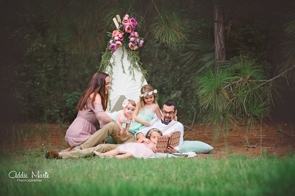 Orlando Family Photographer romantic vintage photo shoot floral tent