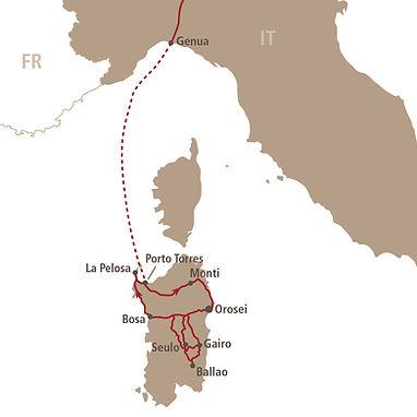 Routenkarte Sardinien 2021 Motorradreise