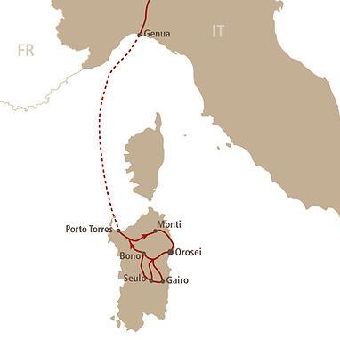 Streckenverlauf Sardinien