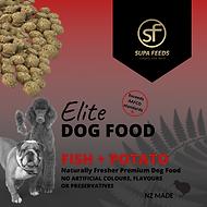 Elite Dog Food Fish + Potato, Supa Feeds dog food, nz made dog food