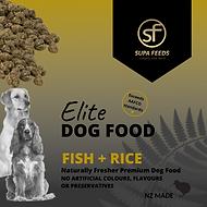 Elite Dog Food Fish + Rice, Supa Feeds dog food, grain ree dogfood, nz made dog food