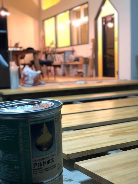 カウンター天板塗装状況