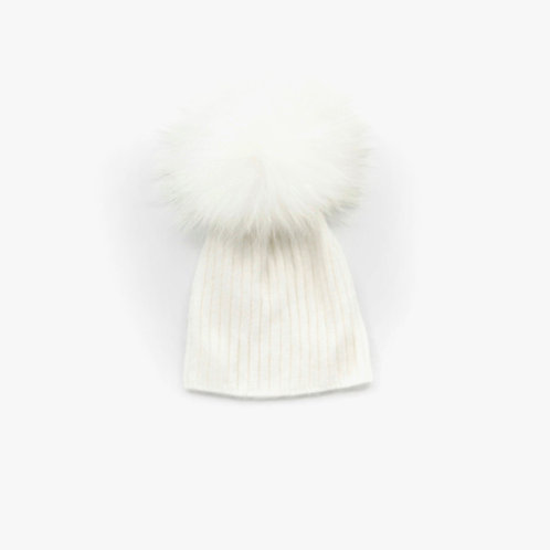 Angora Lightweight Single Pom Hat Winter White - 1 to 3 year
