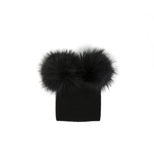 Angora Double Pom Hat - Baby to 2 years Black