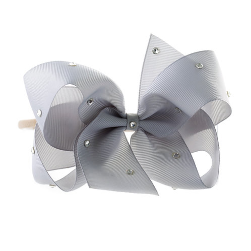 Large Classic Bow Soft Hairband - Shell Grey with Swarovski Cr