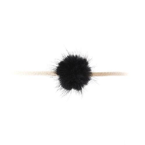 Mink Puff Soft Hairband - Black