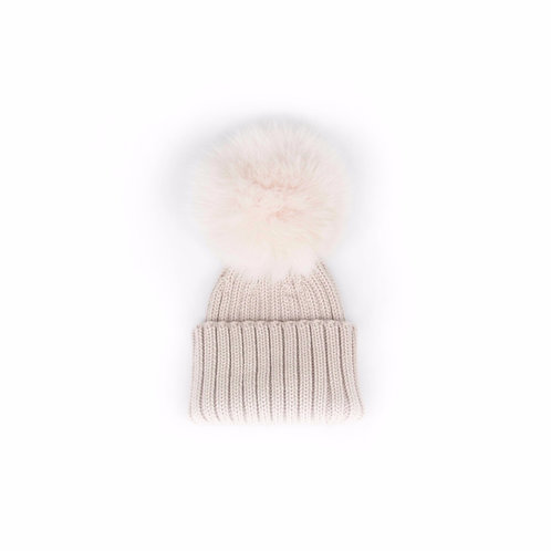 *EXCLUSIVE* Merino Wool Single Pom Baby Hat - Stone - baby to 18 months