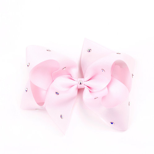 Large Classic Bow - Powder Pink with Swarovski Crystals