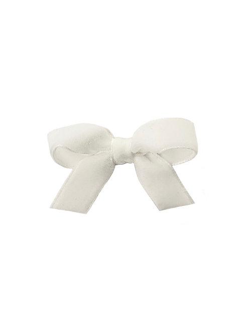 Small Velvet Bow - Winter White