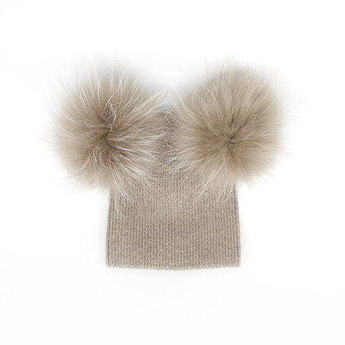 *Exclusive* Angora of Double Pom Child Hat - 2 years to 5 years Fawn