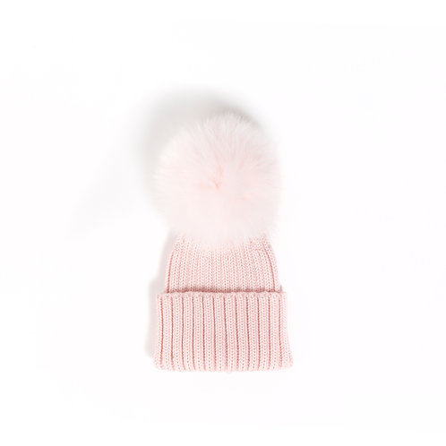 *EXCLUSIVE* Merino Wool Single Pom Baby Hat - Pink - baby to 18 months