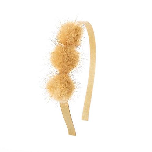 Triple Puff Hairband - Oatmeal Sparkle