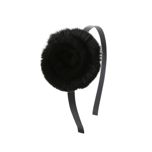 Swirl Flower Hairband - Black