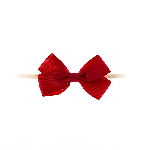 Small London Bow Soft Hairband - Scarlet