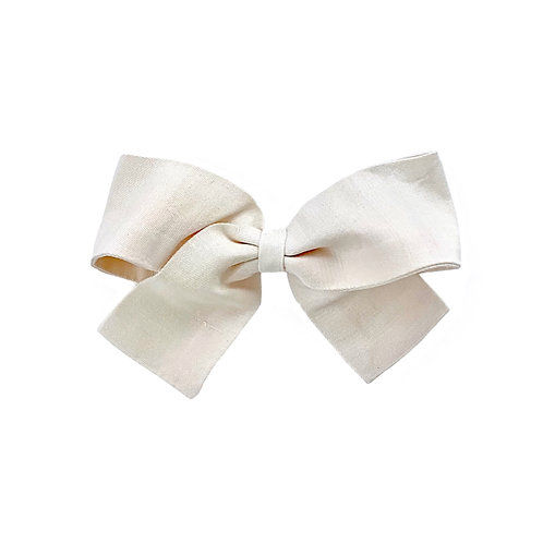 Medium Paris Bow - Antique White  Silk Taffeta