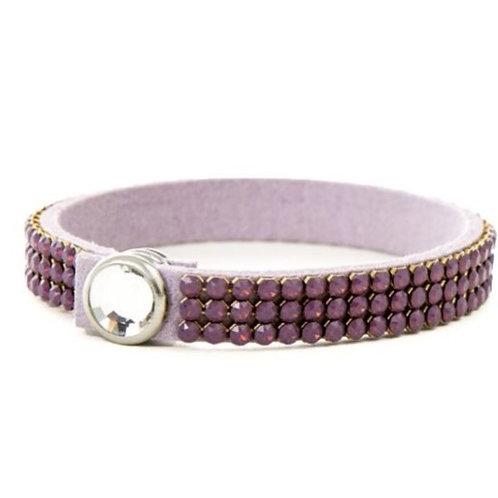 Three Row Single Wrap Bracelet - Cyclamen Opal