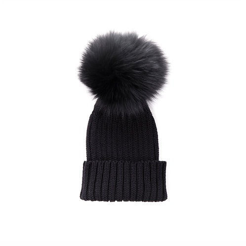 Merino Wool Single Pom Baby Hat - Black - baby to 18 months