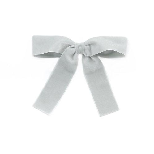 Large Velvet Bow - Silver