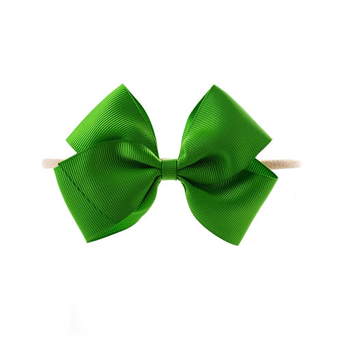 Medium London Bow Soft Hairband - Classic Green