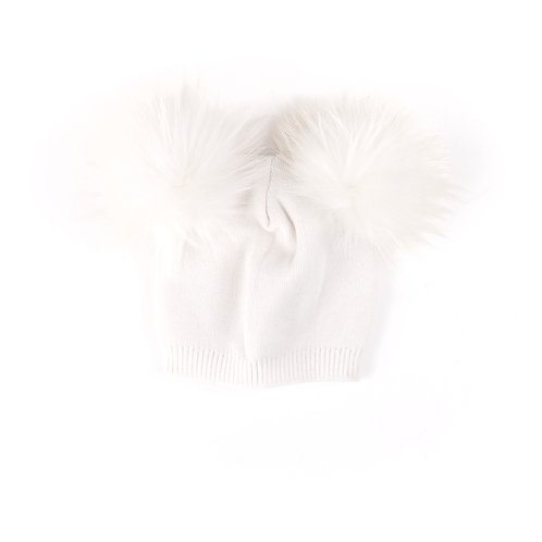 Ivory Double Pom Child and Adult Hat - 18 months to adult