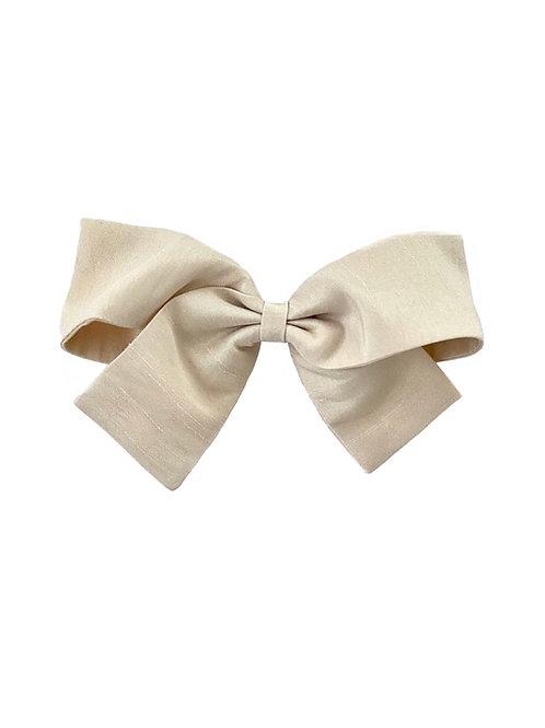 Medium Paris Bow - Ivory  Silk Taffeta