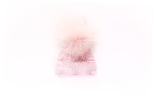 Angora Single Pom Hat - Baby to 2 yrs - Pink