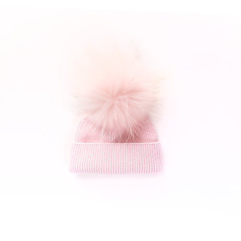 Angora Single Pom Hat - Baby to 2 yrs - Pink