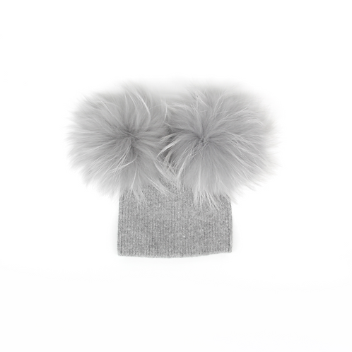 *Exclusive* Angora Double Pom Hat - baby to 2 years Grey