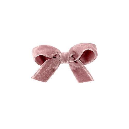 Small Velvet Bow - Rosy Mauve