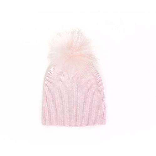 Angora Single Pom Hat - Pink - 6 year to Adult