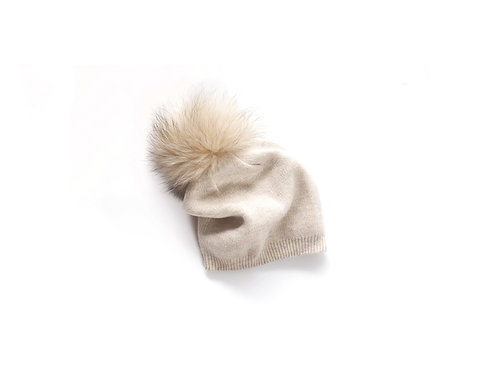 Oatmeal Single Pom Slouchy Child and Adult Hat - 18 months to adult