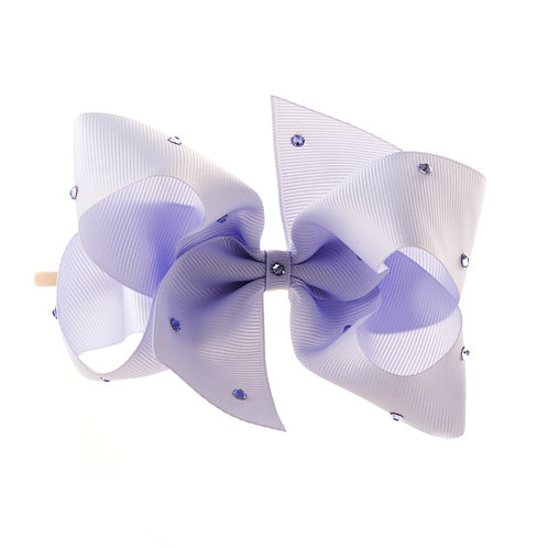 Large Classic Bow Soft Hairband - Lilac Mist with Swarovski Cry
