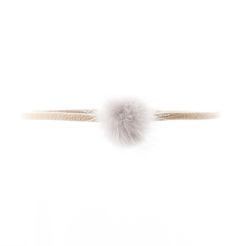 Mink Puff Soft Hairband - Grey