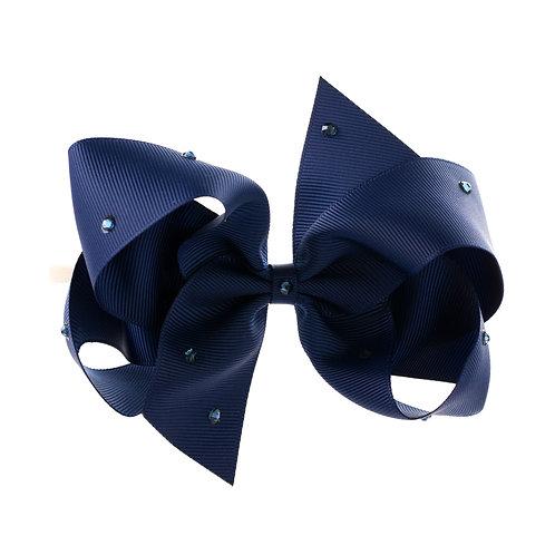 Large Classic Bow Soft Hairband - Navy with Swarovski Cry