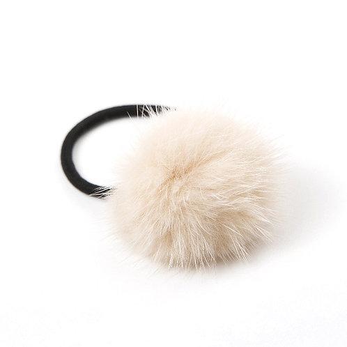 Mink Puff Hair Tie - Light Oatmeal