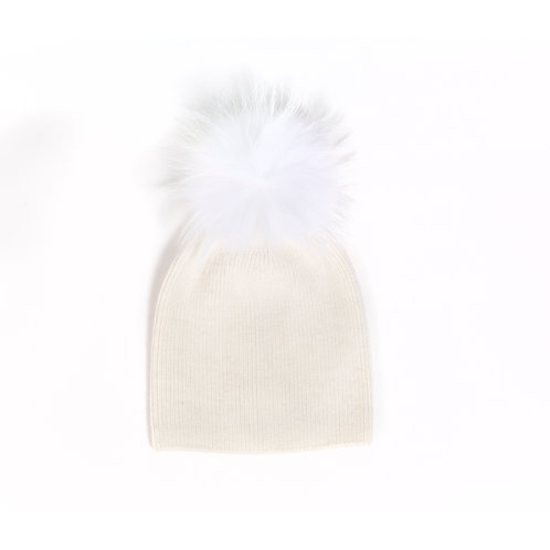 Angora Single Pom Hat - Baby to 2 yrs - Ivory