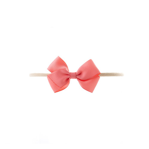 Small London Bow Soft Hairband - Coral Rose