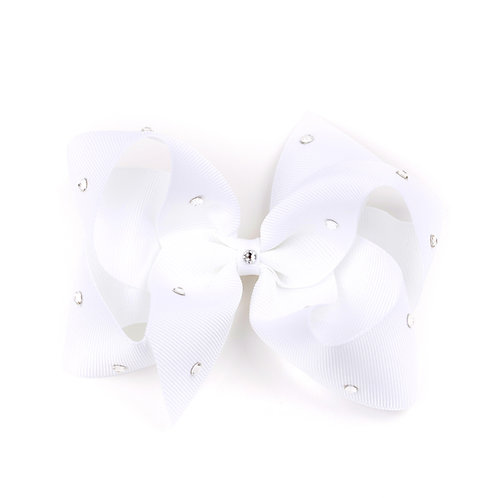 Large Classic Bow - White with Swarovski Crystals