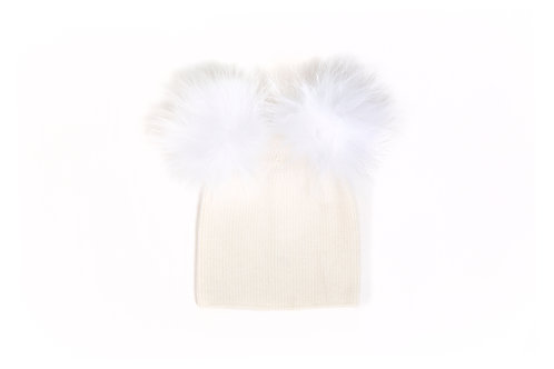 Angora Double Pom Hat - Ivory - 6 year to Adult