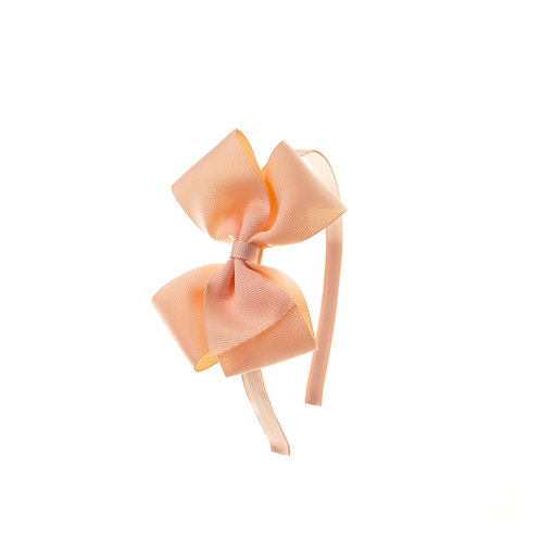 Medium London Bow Hairband - Petal Peach