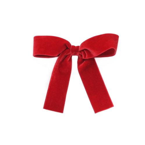 Large Velvet Bow - Scarlet