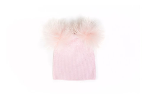 Angora Double Pom Hat - Pink - 6 year to Adult