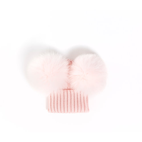*EXCLUSIVE* Merino Wool Double Pom Baby Hat - Pink - baby to 18 months