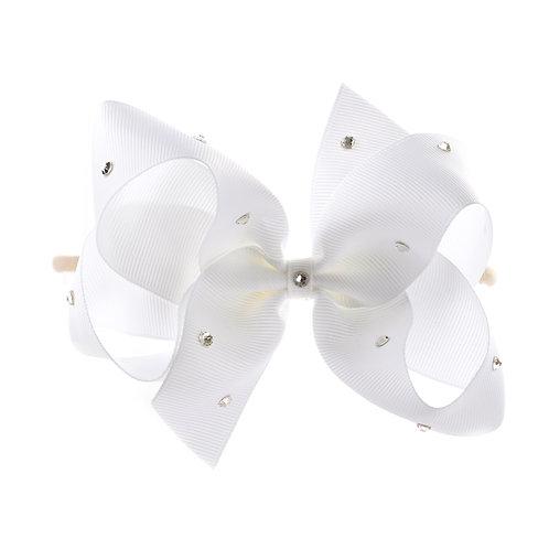 Large Classic Bow Soft Hairband - White with Swarovski Cr