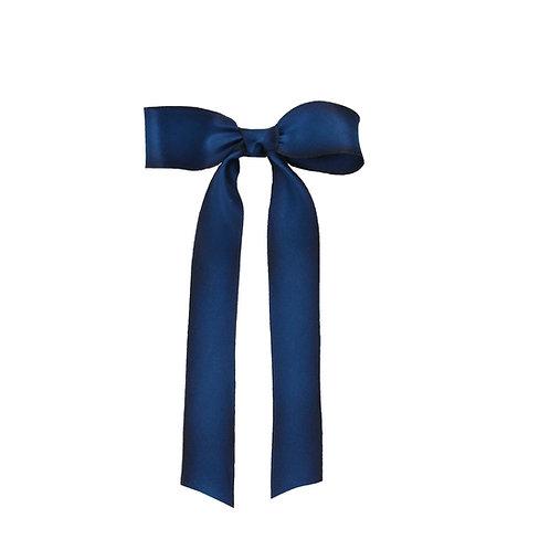 Petite Long Silk Bow - Midnight